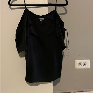 1 STATE BLACK OFF THE SHOULDER RUFFLE TOP